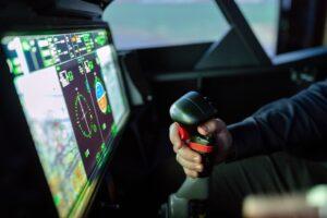 simulador de esportes simulando um avião