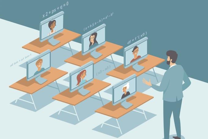 professor dando aula online para alunos